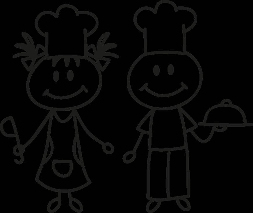 Vinilo dibujo cocineros para nevera for Herramientas de un cocinero