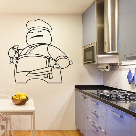 Vinilo dibujo cocinero para cocina for Cocina dibujo