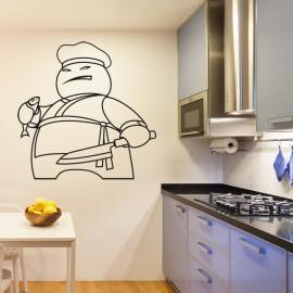Vinilo Dibujo Cocinero para Cocina