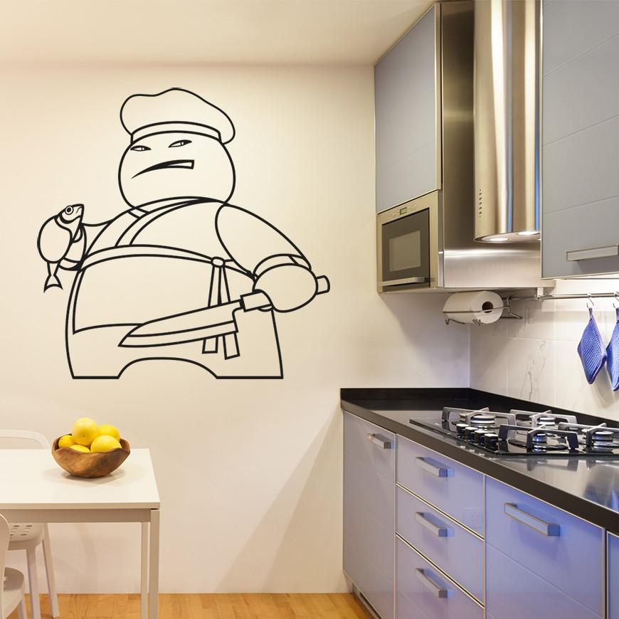 Vinilo dibujo cocinero para cocina for Dibujos de cocina