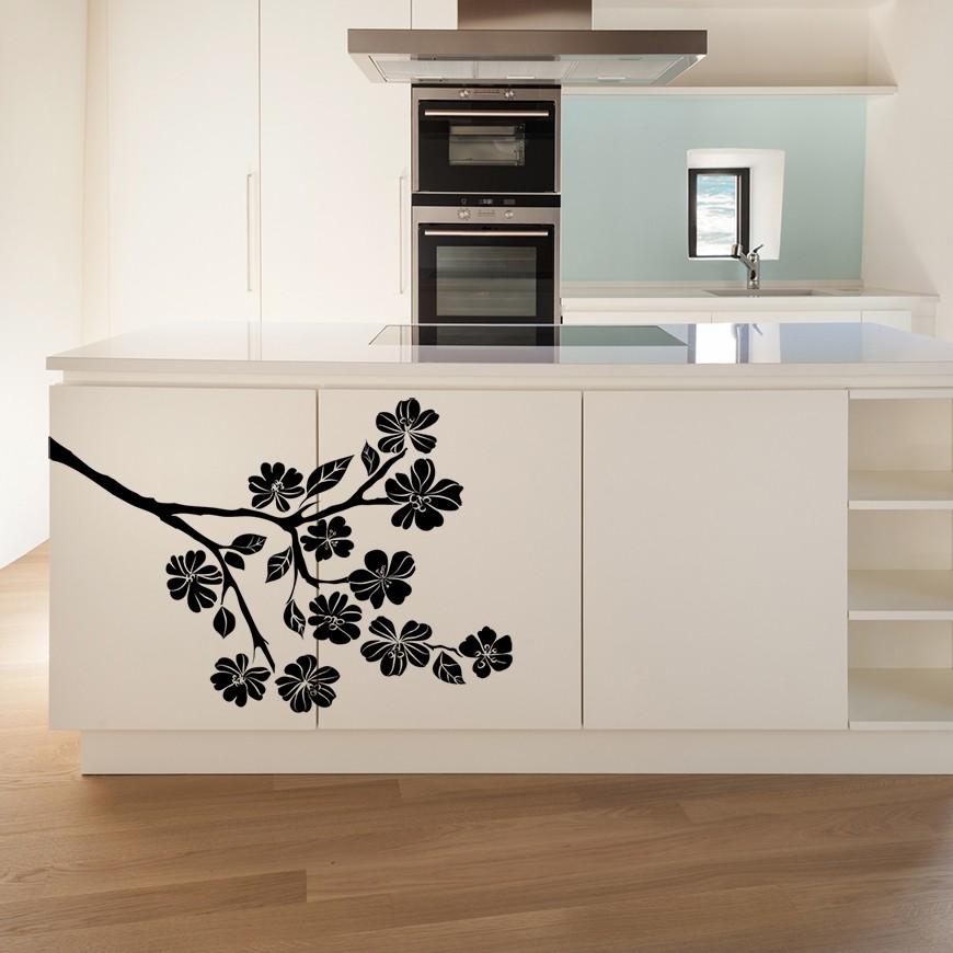 Vinilo flores para cocina - Vinilos puertas cocina ...