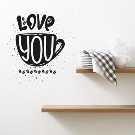 Vinilo Love You Taza Café