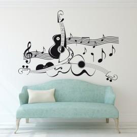 Vinilo Pentagrama Musical y Guitarras