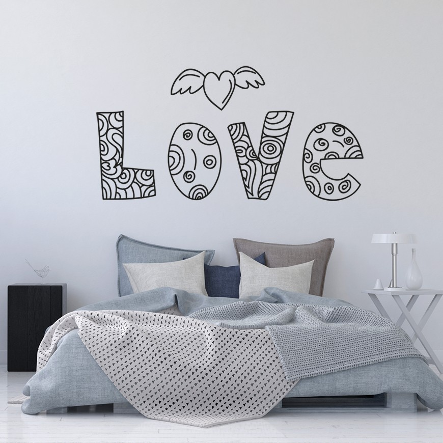 Vinilo cabecero cama love - Vinilos decorativos para cabeceros de cama ...