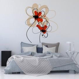 Vinilo Cabecero Cama Flor Creativa