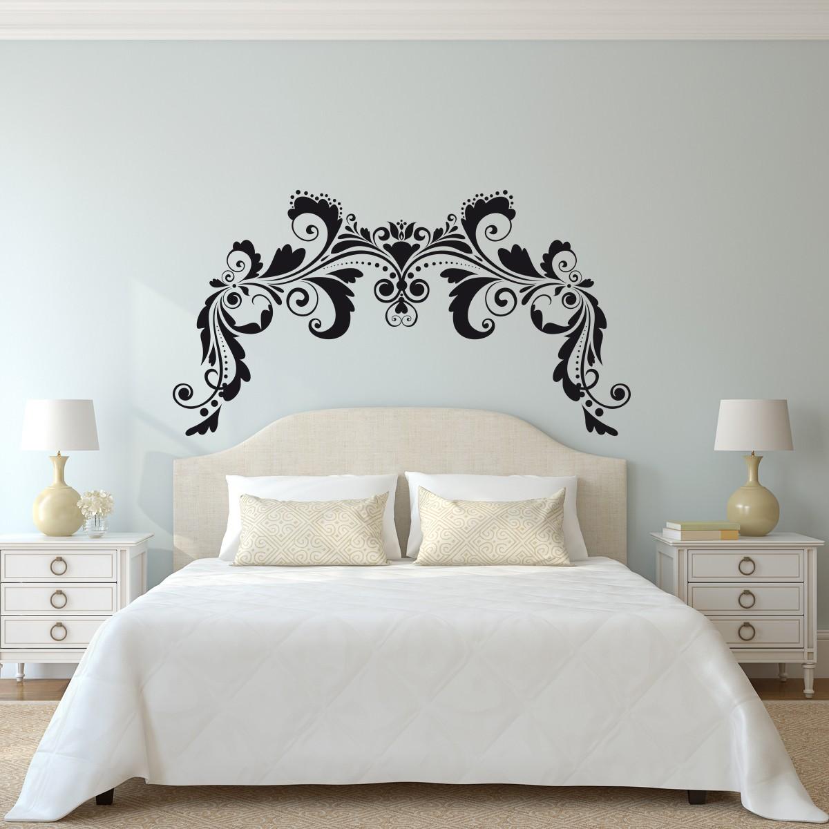 Vinilo cabecero cama ornamento sim trico - Vinilo cabecero cama ...